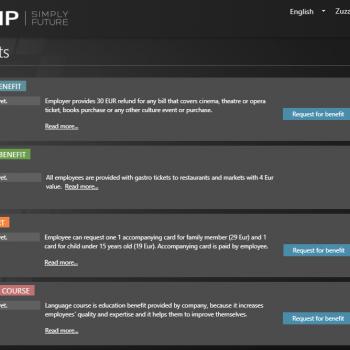 Benefits list - TULIP portal