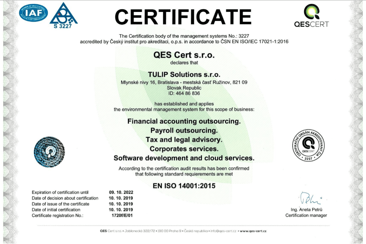 environmental management system ISO - TULIP Solutions