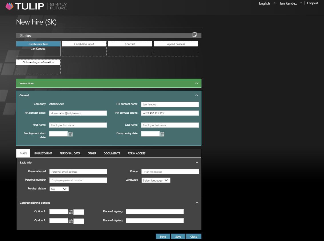 Onboarding online formular in TULIP
