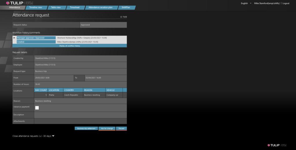tulip platform screen - online business trip settlement form